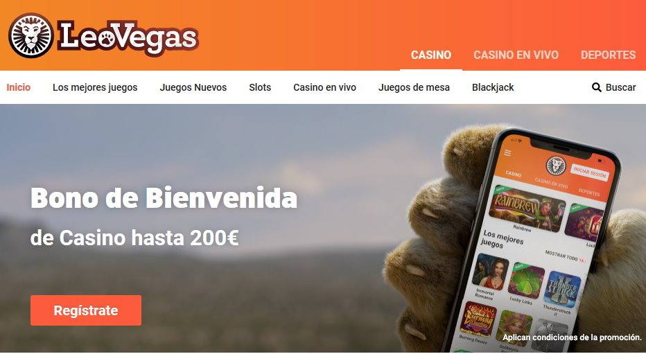 Sitio web Leovegas