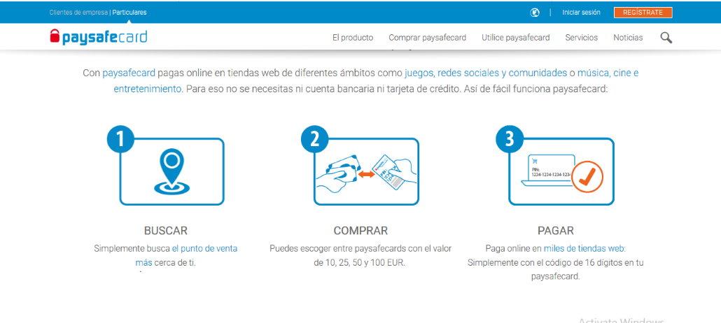 Sitio web de Paysafecard